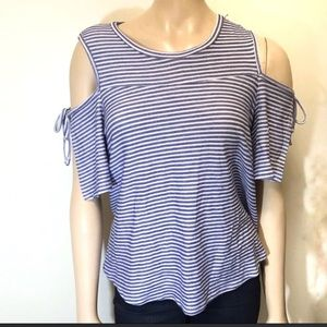 The Vanity Room Cold Shoulder Top Striped Blue